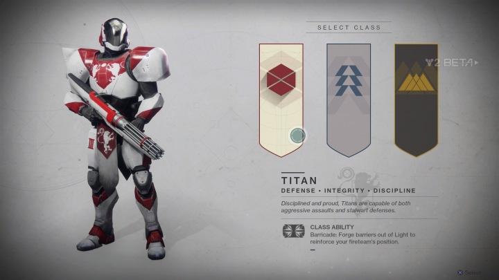 Destiny 2 Beta Class Select